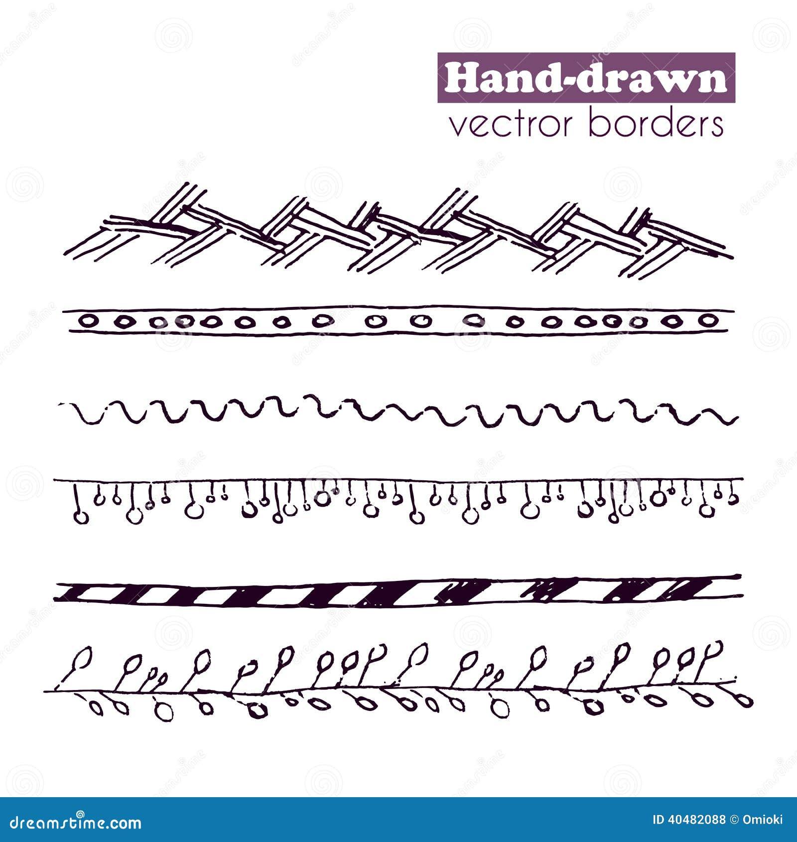 Hand Drawn Vector Borders Set Stock Vector - Image: 40482088