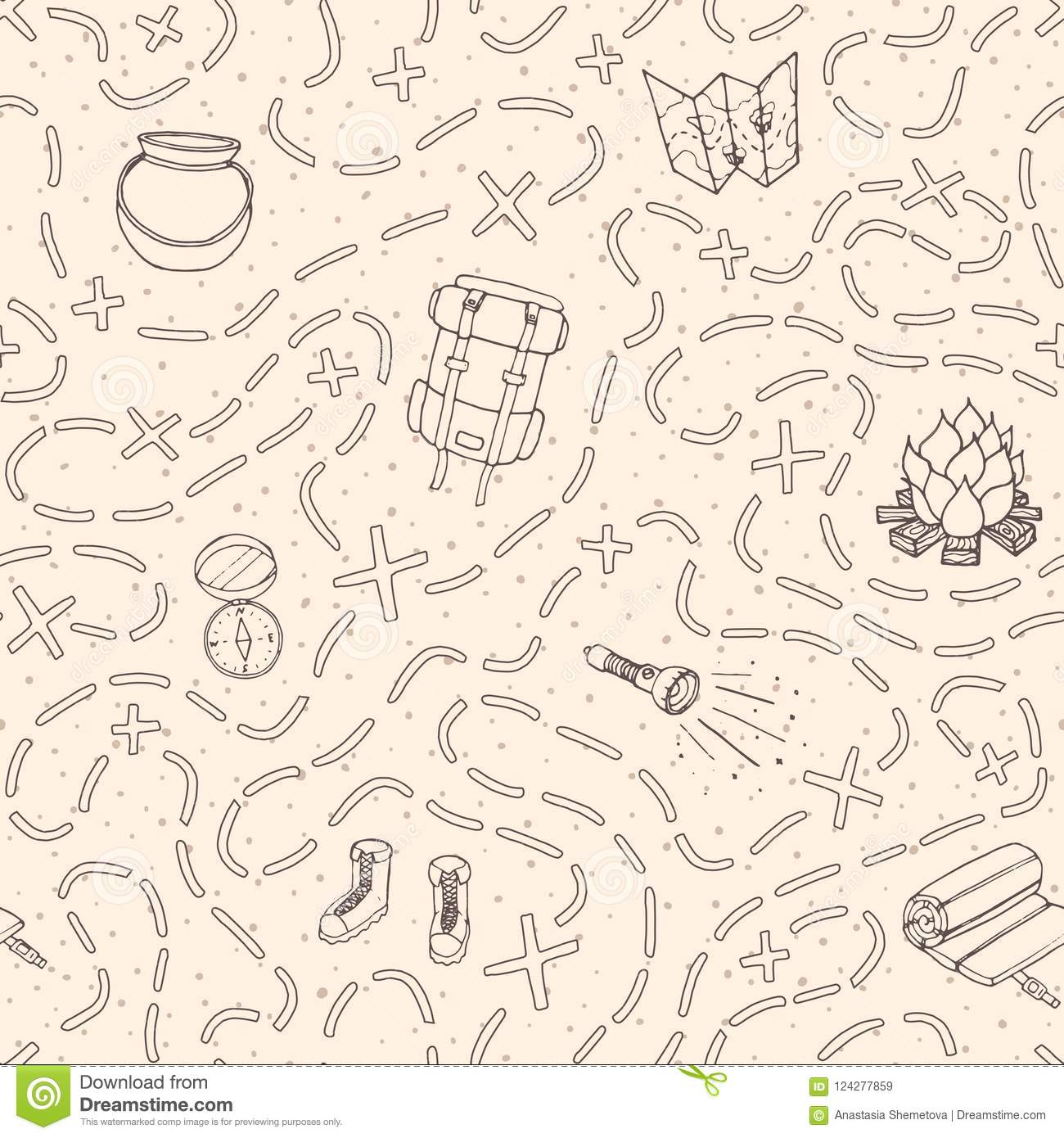 7fea10aa95b3 Hand Drawn Vector Camping Seamless Pattern With Backpack