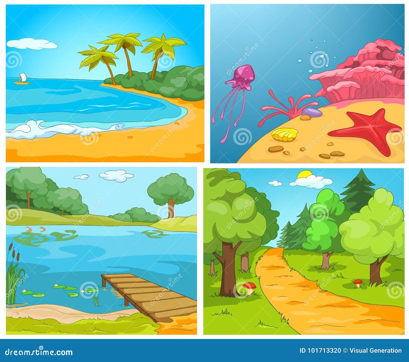vector cartoon set of summer backgrounds stock vector