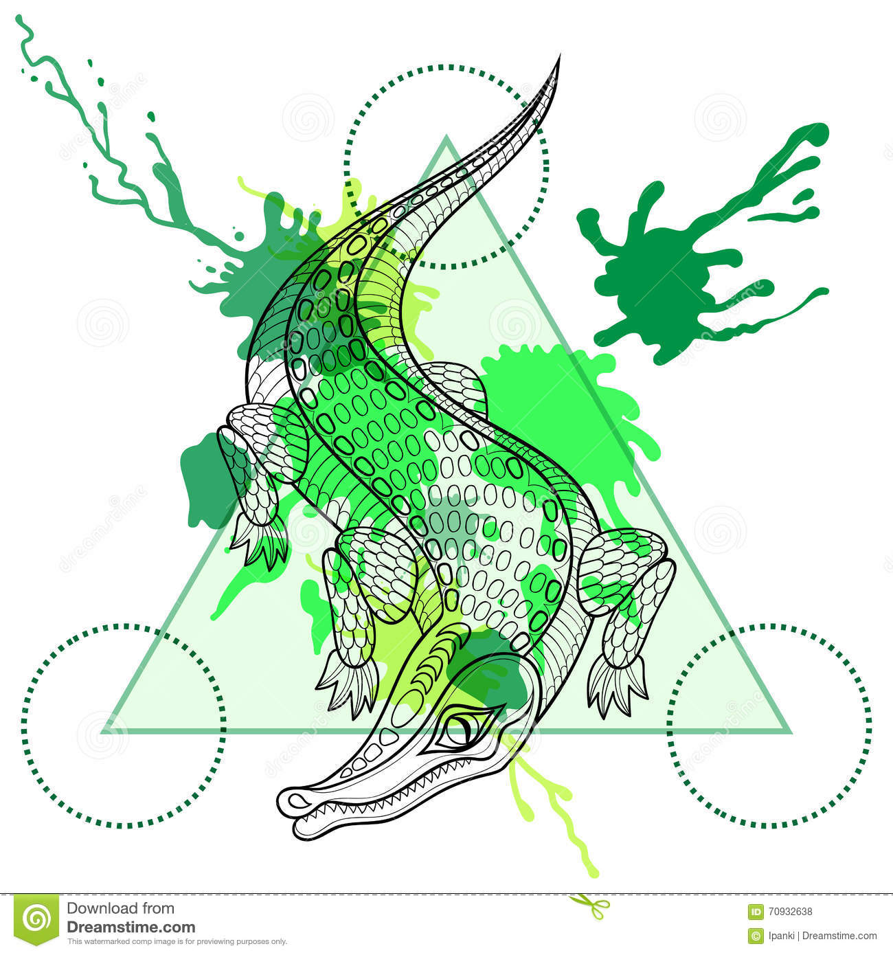 Hand Drawn Vector Crocodile For Adult Coloring Page In Zentangle ...