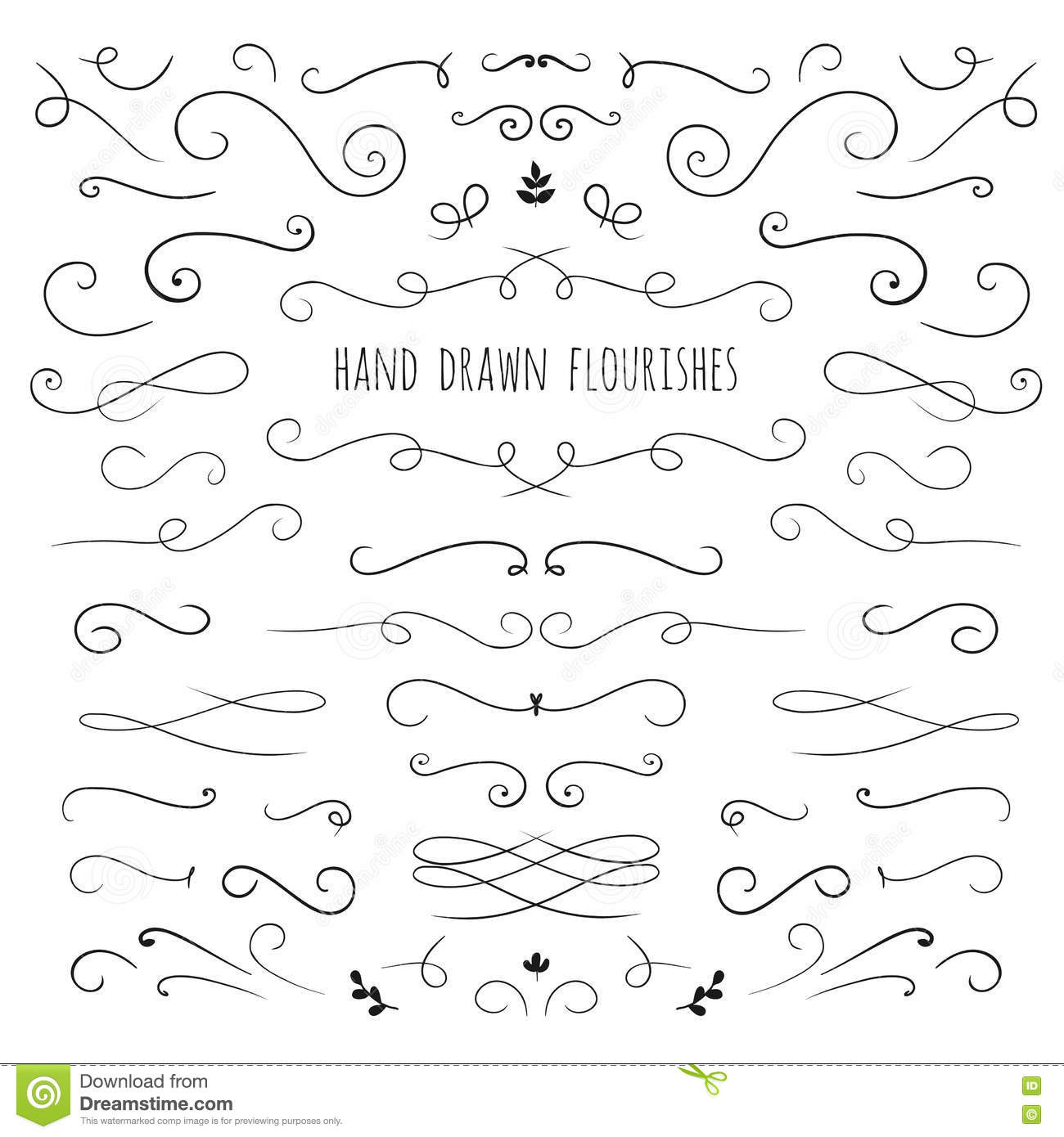 Hand drawn vector curls stock vector. Image of line ...