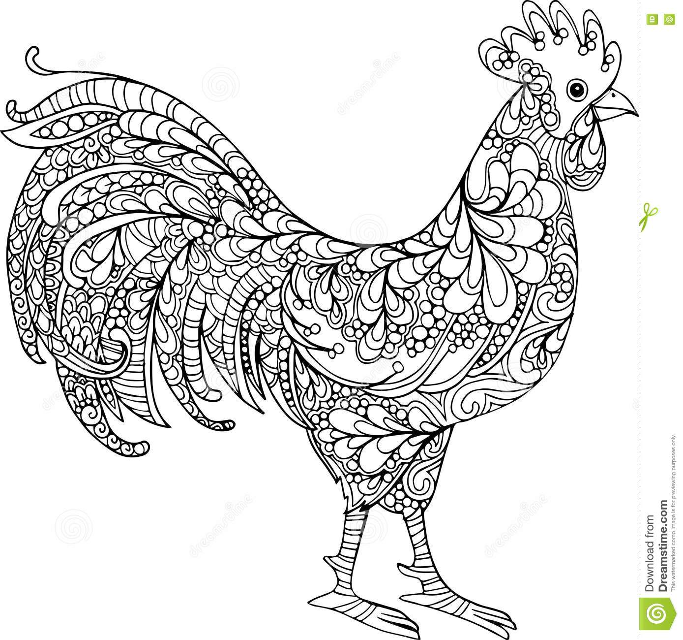 Line Drawing Rooster : Hand drawn vector doodle rooster illustration stock