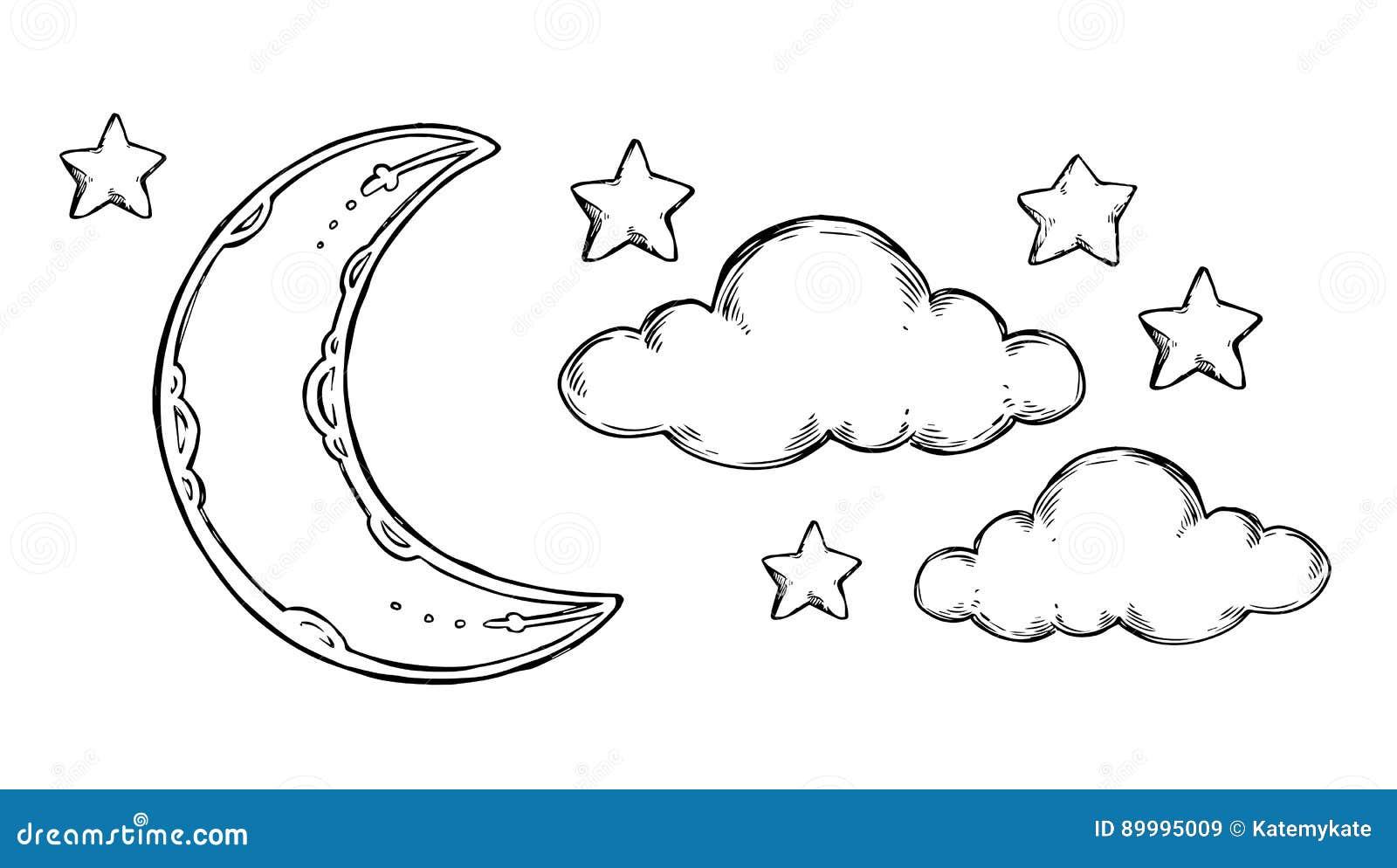 Hand Drawn Vector Elements - Good Night Sleeping Moon ...