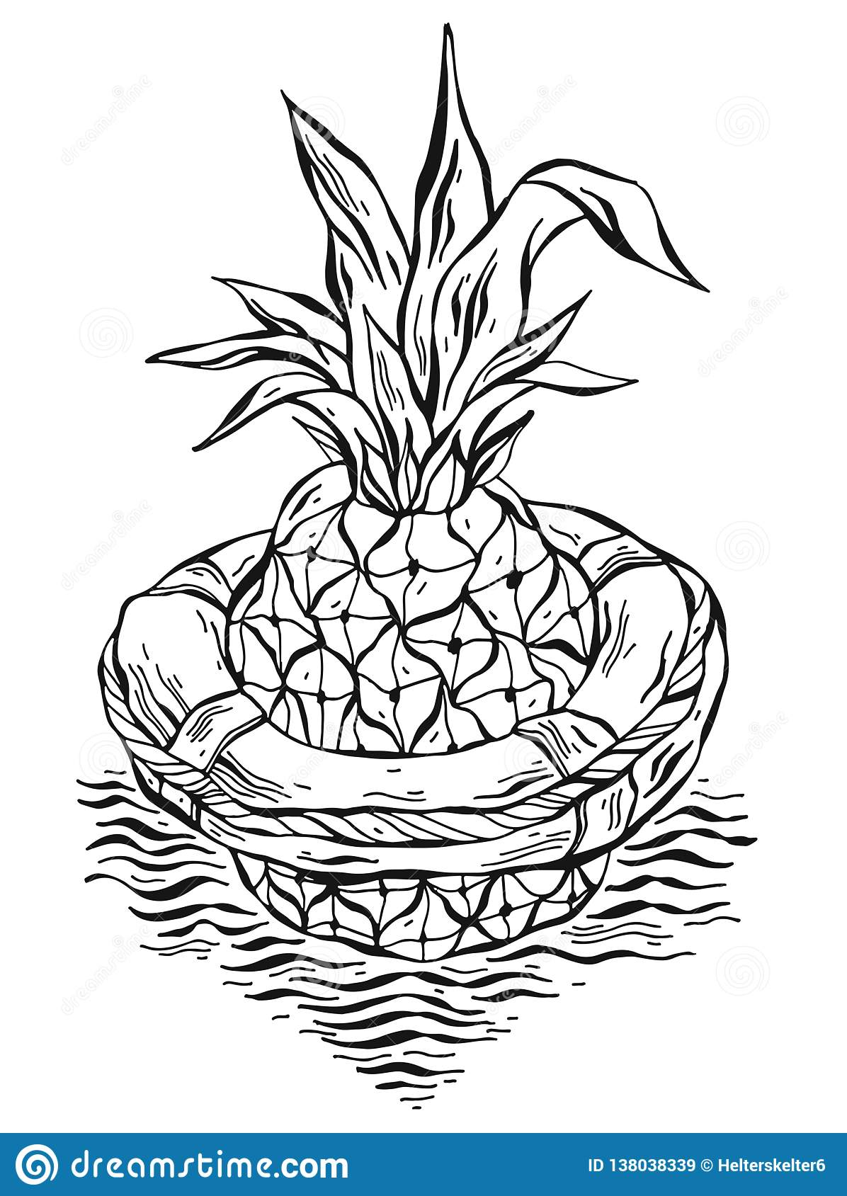 Hand Drawn Vector Graphic Illustration Of Pineapple Floating In