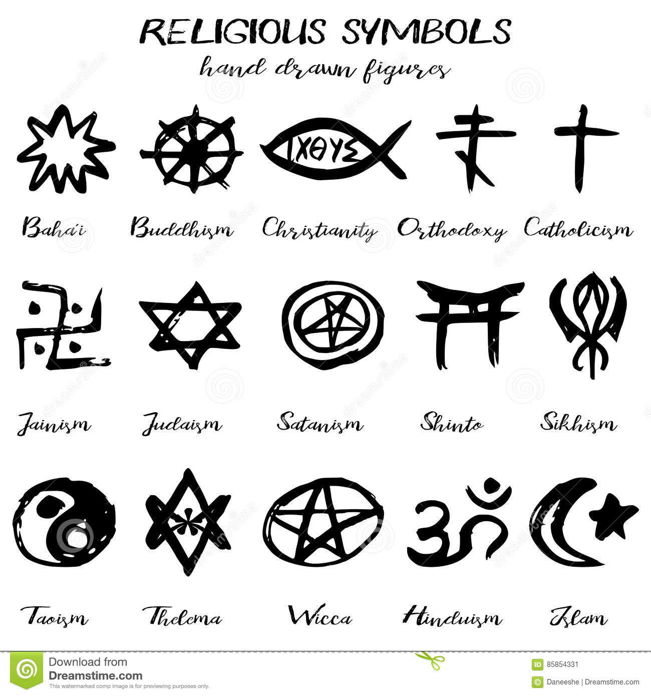 Religious symbols and names images symbol and sign ideas hand drawn vector grunge religious symbols stock vector hand drawn vector grunge religious symbols buycottarizona buycottarizona