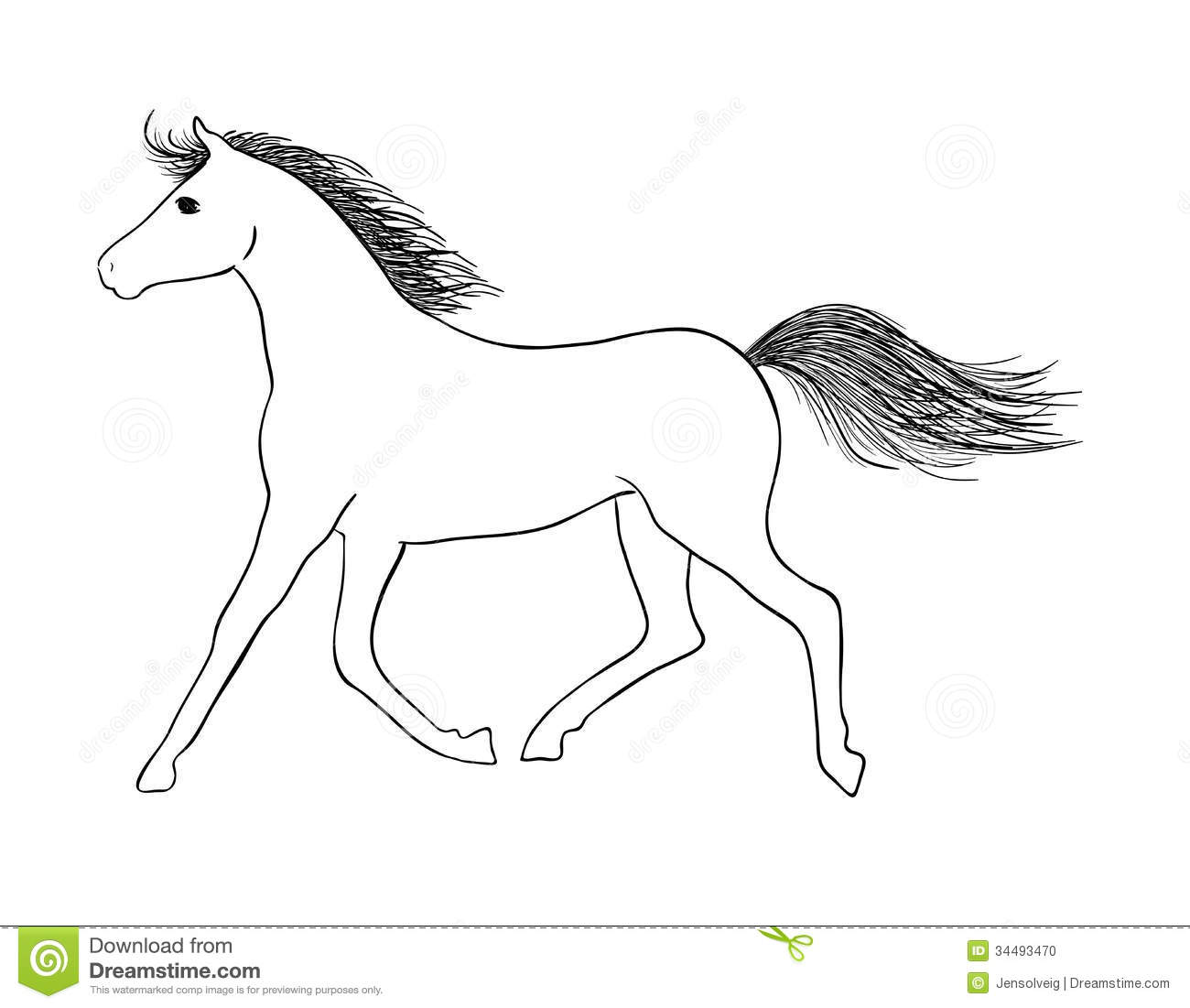 Hand drawn vector horse - sign of year 2014. This is file of EPS10 ...