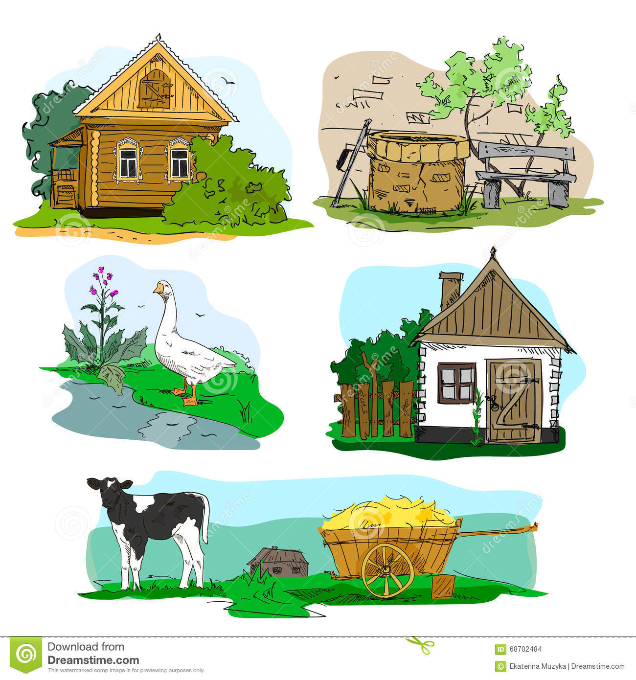 Hand Drawn Vector With Houses In Village Animals And