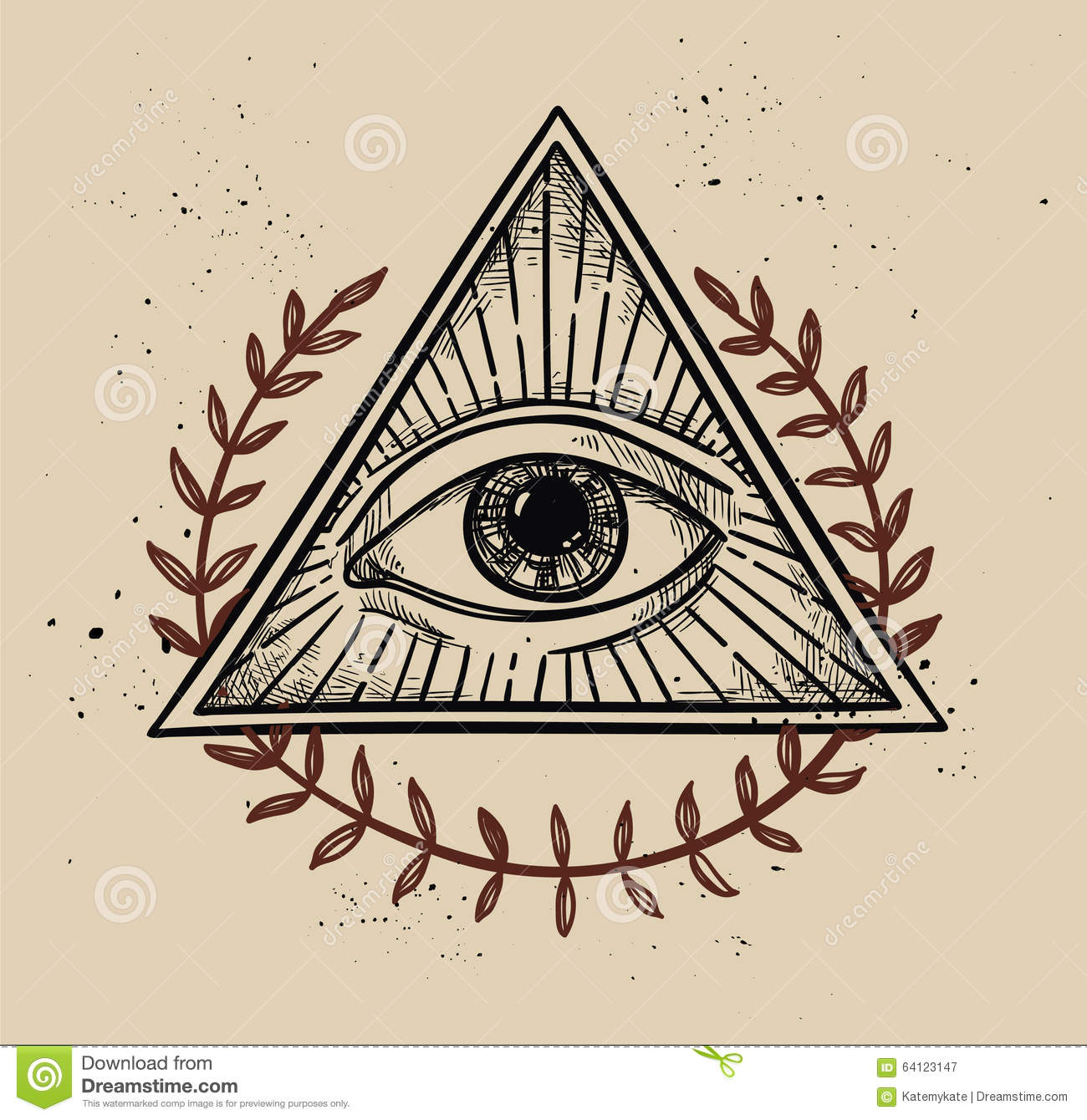 Hand Drawn Vector Illustration - All Seeing Eye Pyramid ...