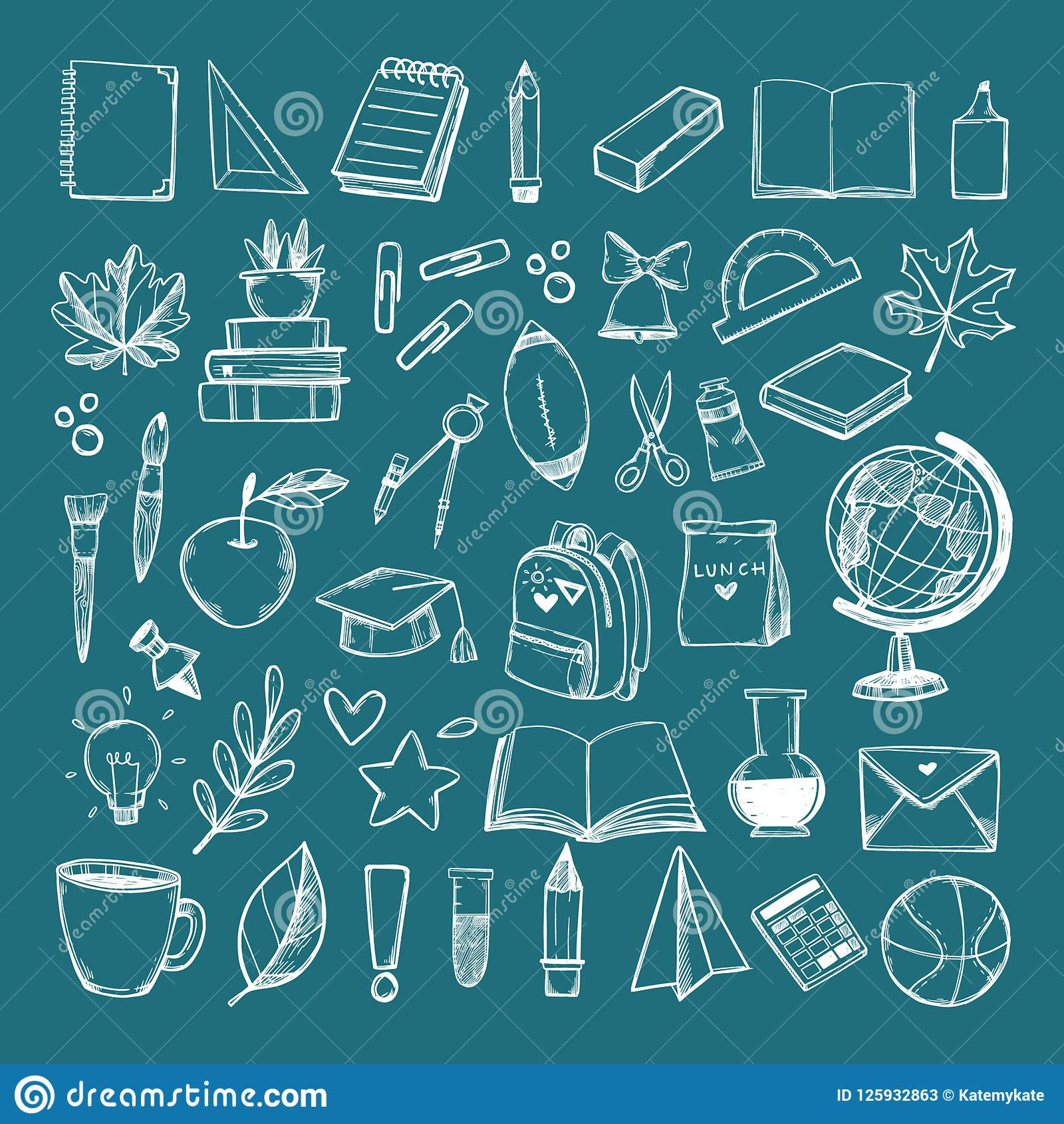Hand Drawn Vector Illustration - Back To School Background ...