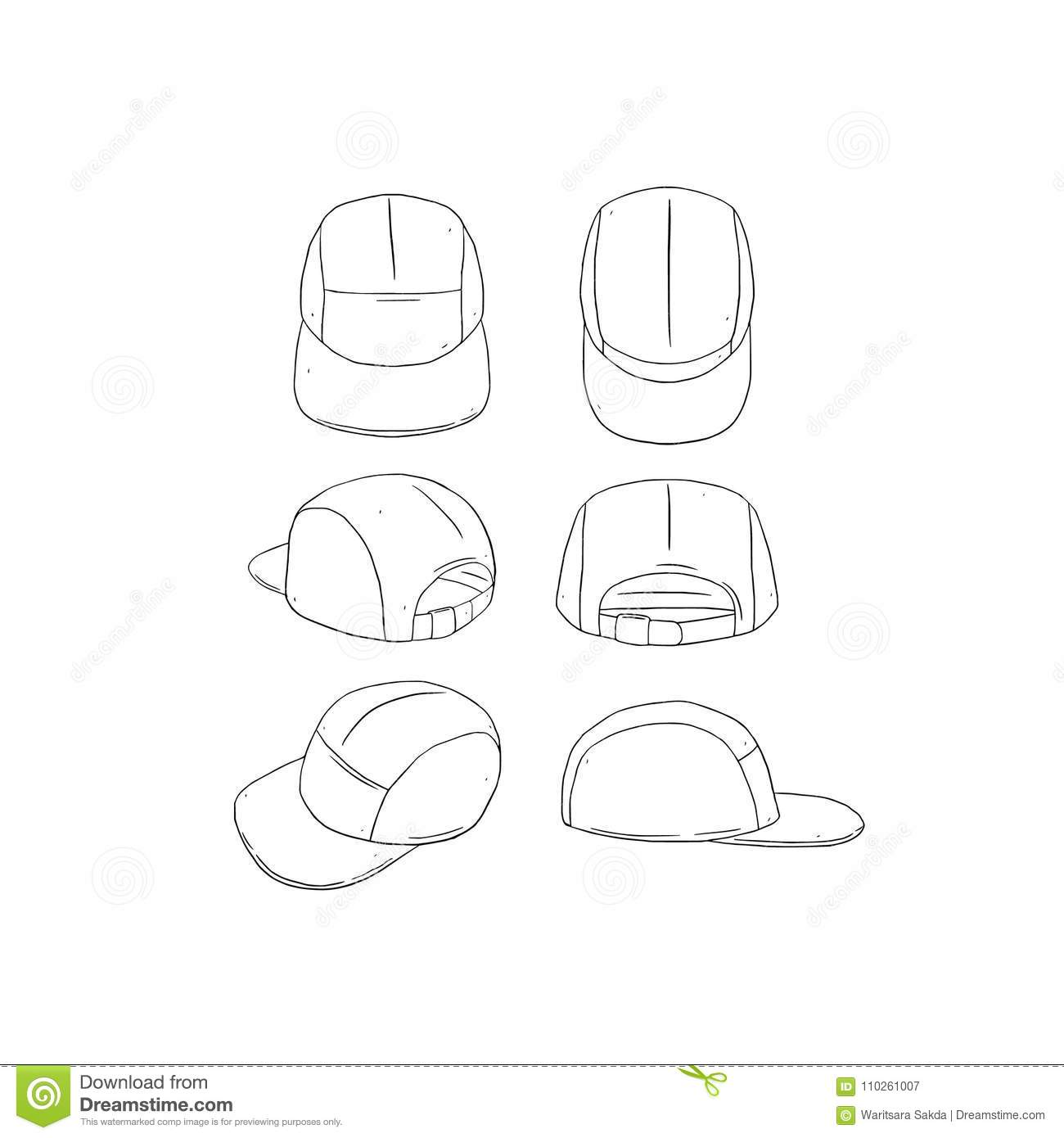 hand drawn vector illustration of blank 5 panel camp hat cap on