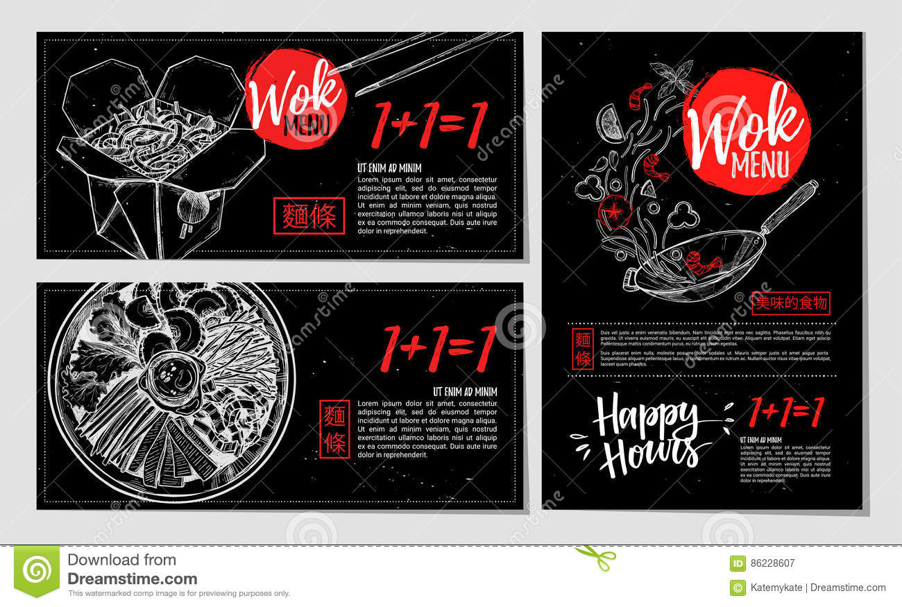 Hand Drawn Vector Illustration Brochures With Asian Food Wok M Stock Vector Illustration Of Banner Collection 86228607