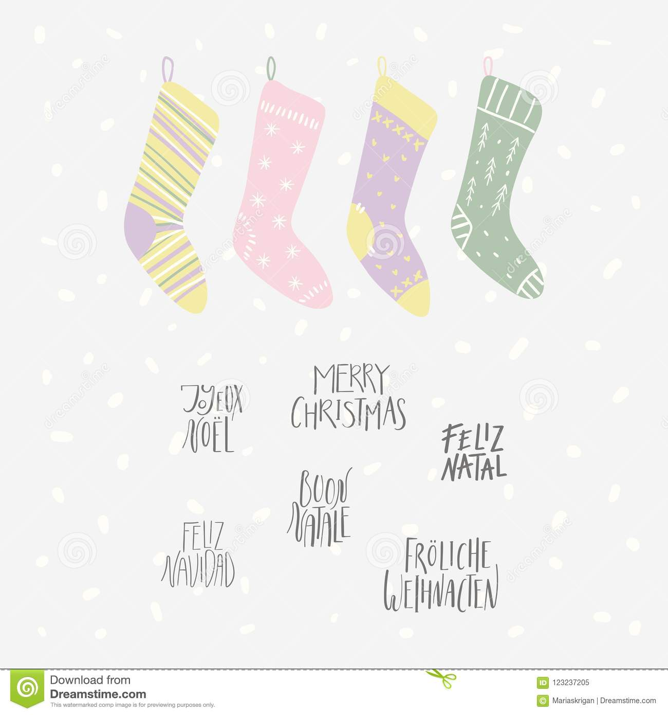 Cute Christmas Quotes Christmas stockings card stock vector. Illustration of girl  Cute Christmas Quotes
