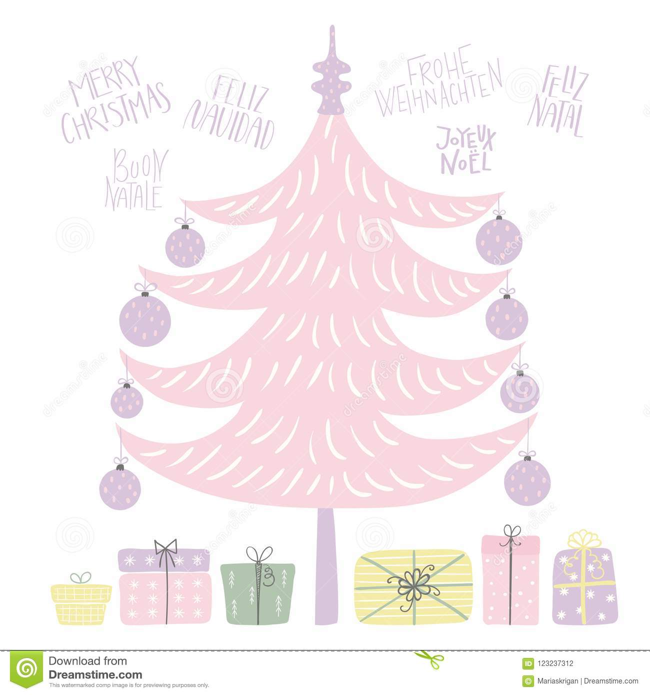 Christmas tree card stock vector. Illustration of graphic - 123237312