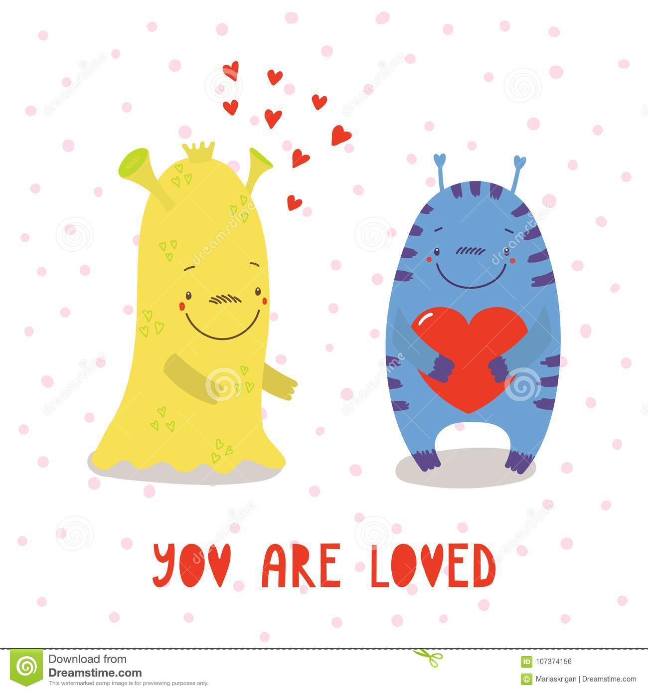 Cute Monsters Valentines Day Greeting Card Stock Vector