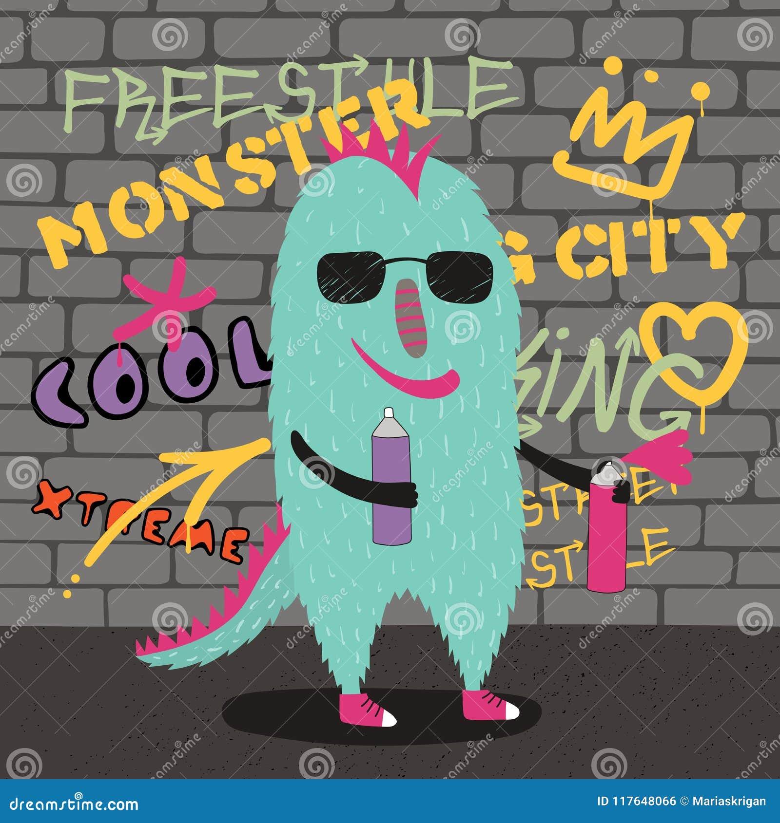 Cute street style monster stock vector illustration of graphic jpg 1300x1390 grafitti monster cute