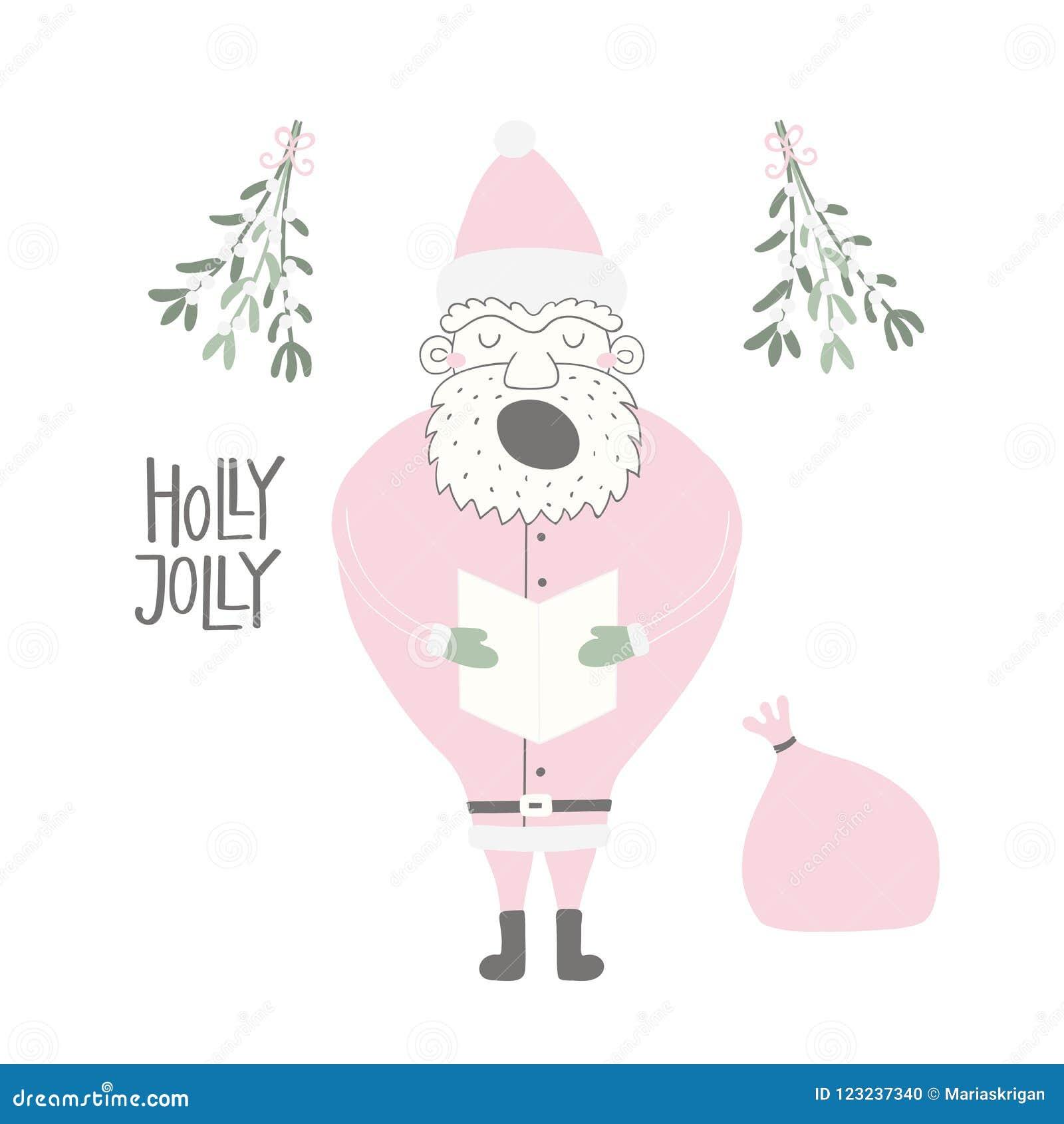 Funny Santa Claus Christmas Card Stock Vector - Illustration of face ...