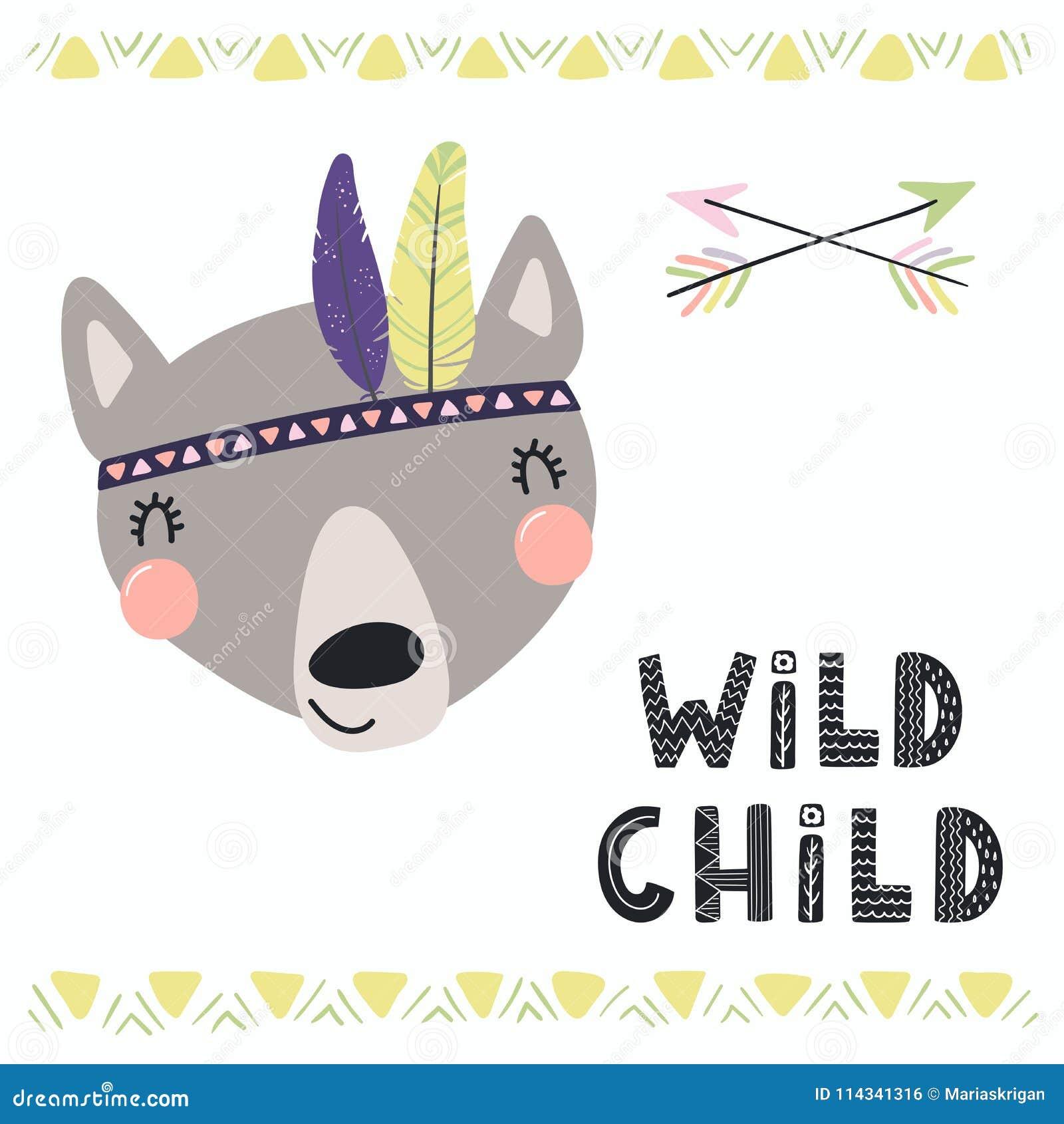 Cute tribal wolf