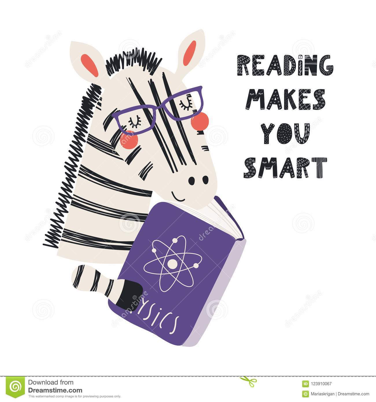 dad671eb6d7fe Hand drawn vector illustration of a cute funny zebra reading a book