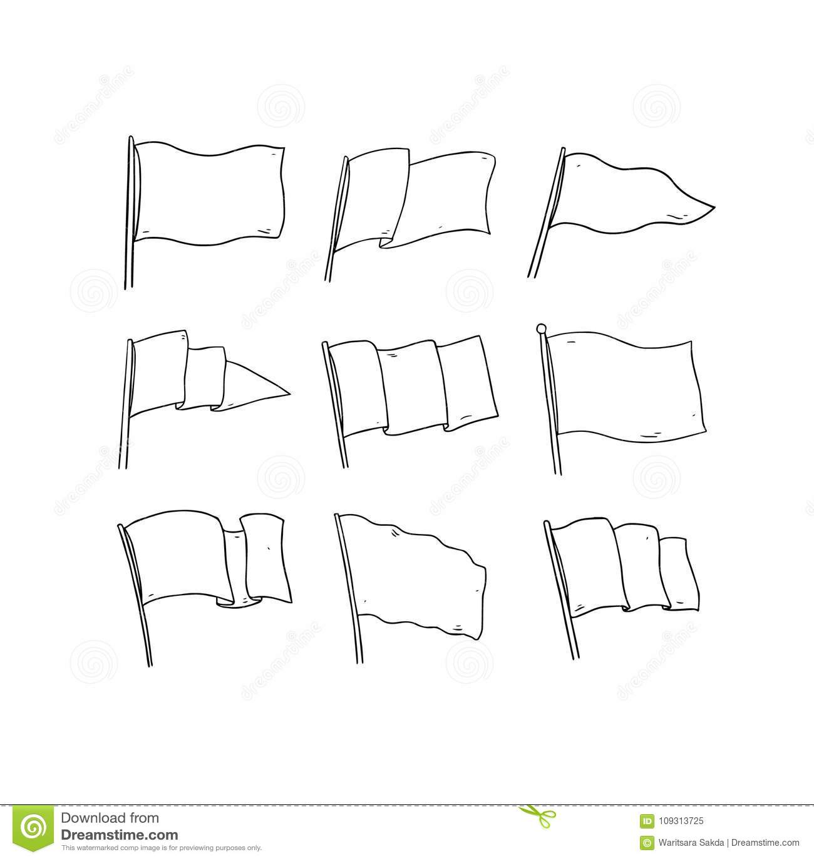 Hand Drawn Vector Illustration Of Flag On White Background