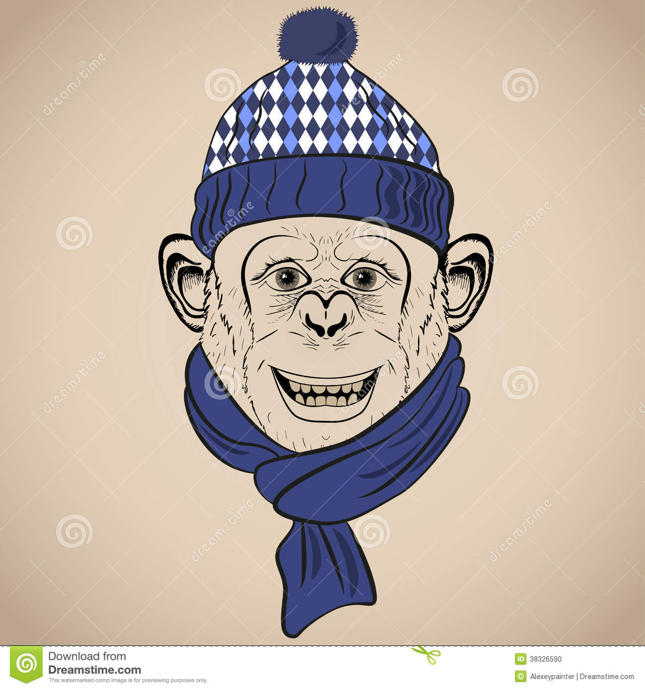 Hand Drawn Vector Illustration Of Funny Monkey In Knitted ...