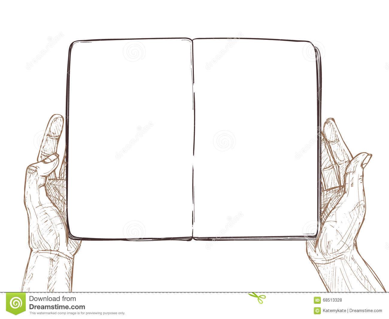hand drawn vector illustration hands hold empty open book stock