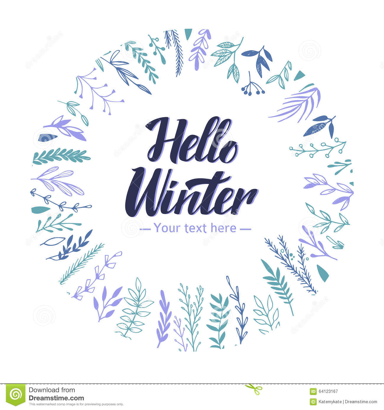 Hand Drawn Vector Illustration Hello Winter Lettering