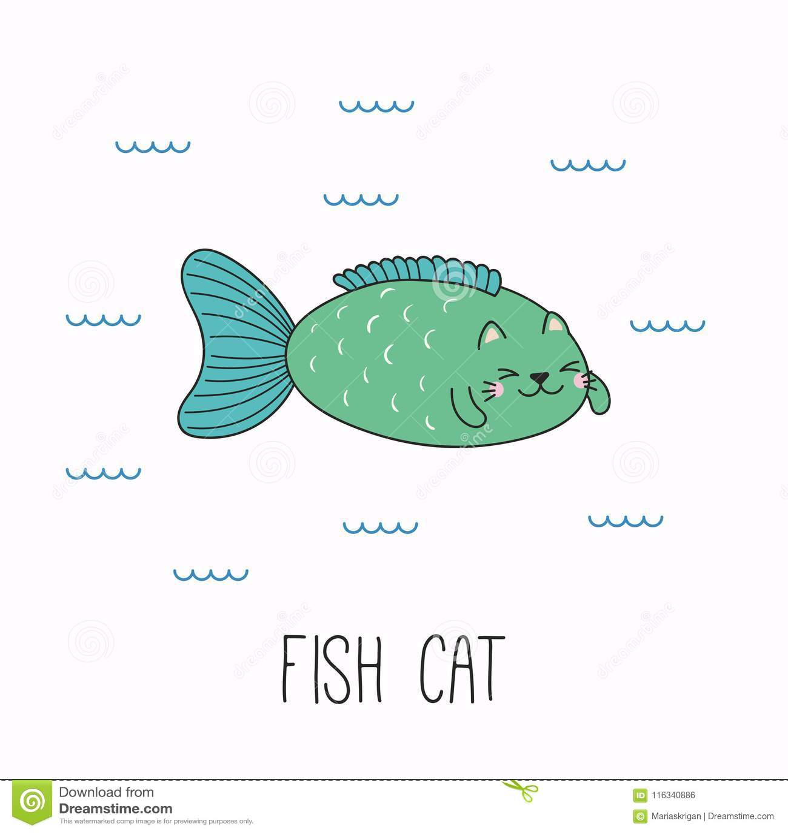 Cute cat fish stock vector. Illustration of clip, book - 116340886