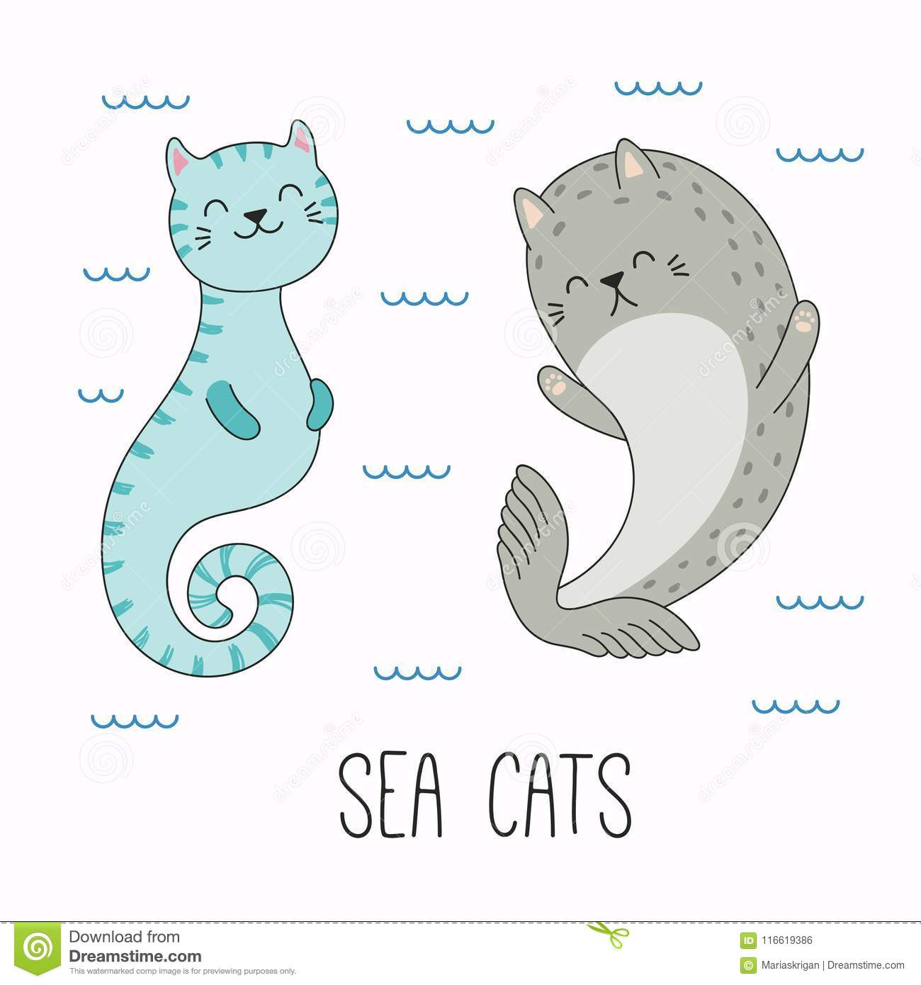 cute sea animals with cat ears stock vector illustration of