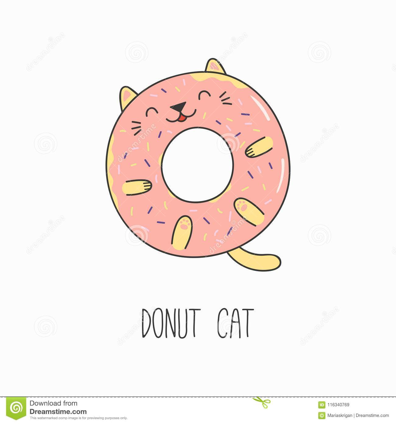 Cute Cat Donut Stock Vector Illustration Of Frosting 116340769