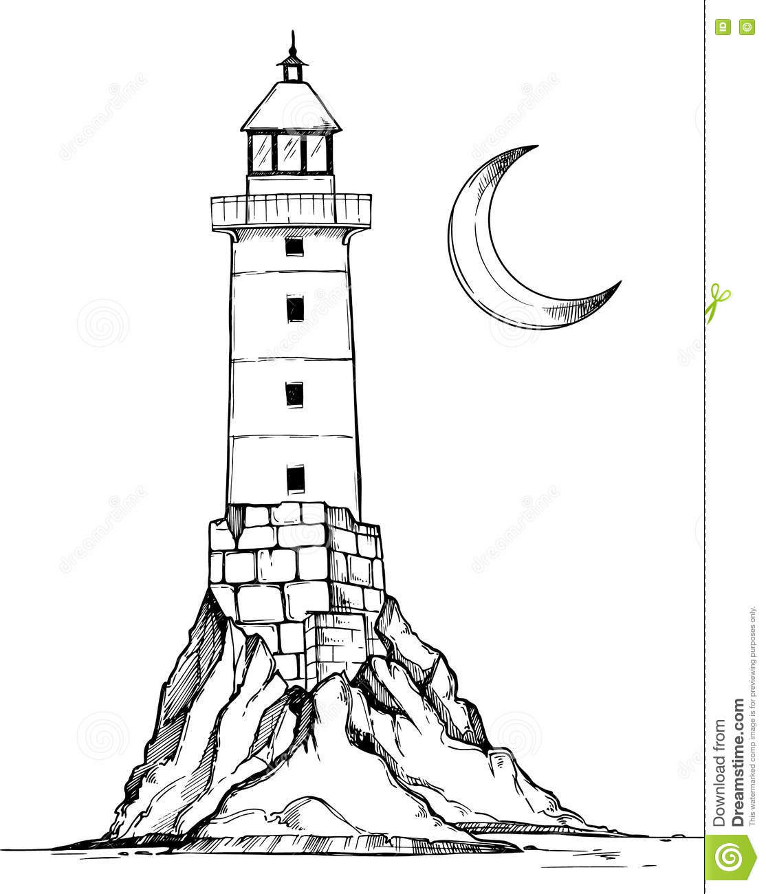 Lighthouse Line Art : Hand drawn vector illustration lighthouse on the rock
