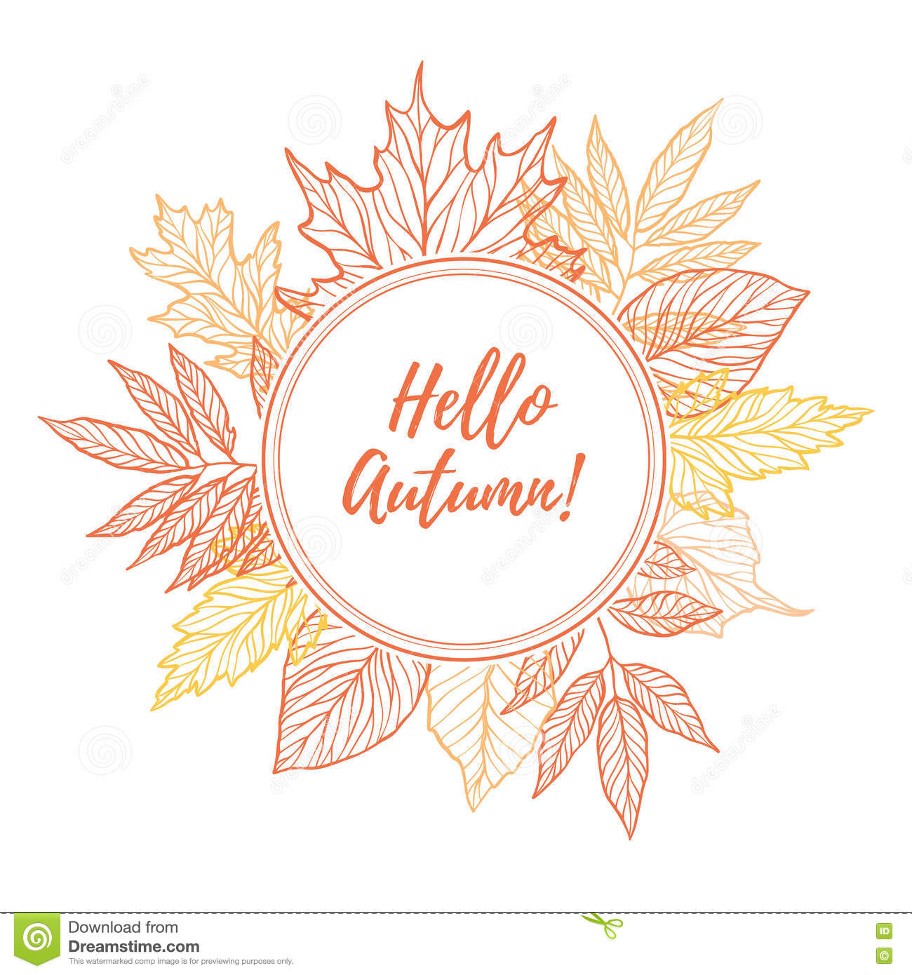 Hand Drawn Vector Illustration. Round Emblem With Fall ...