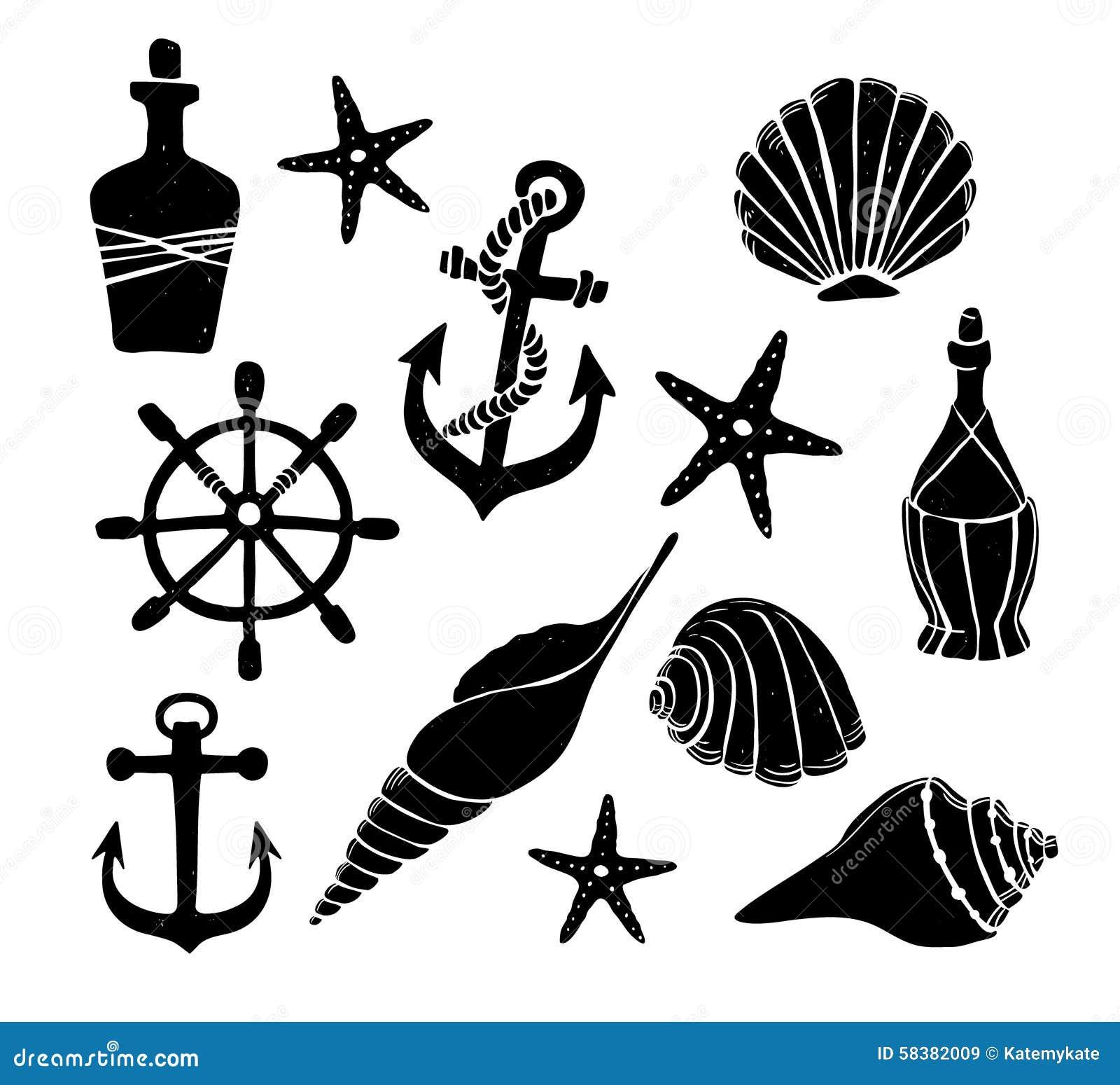 Elements For Design : Hand drawn vector illustration set of sea elements for