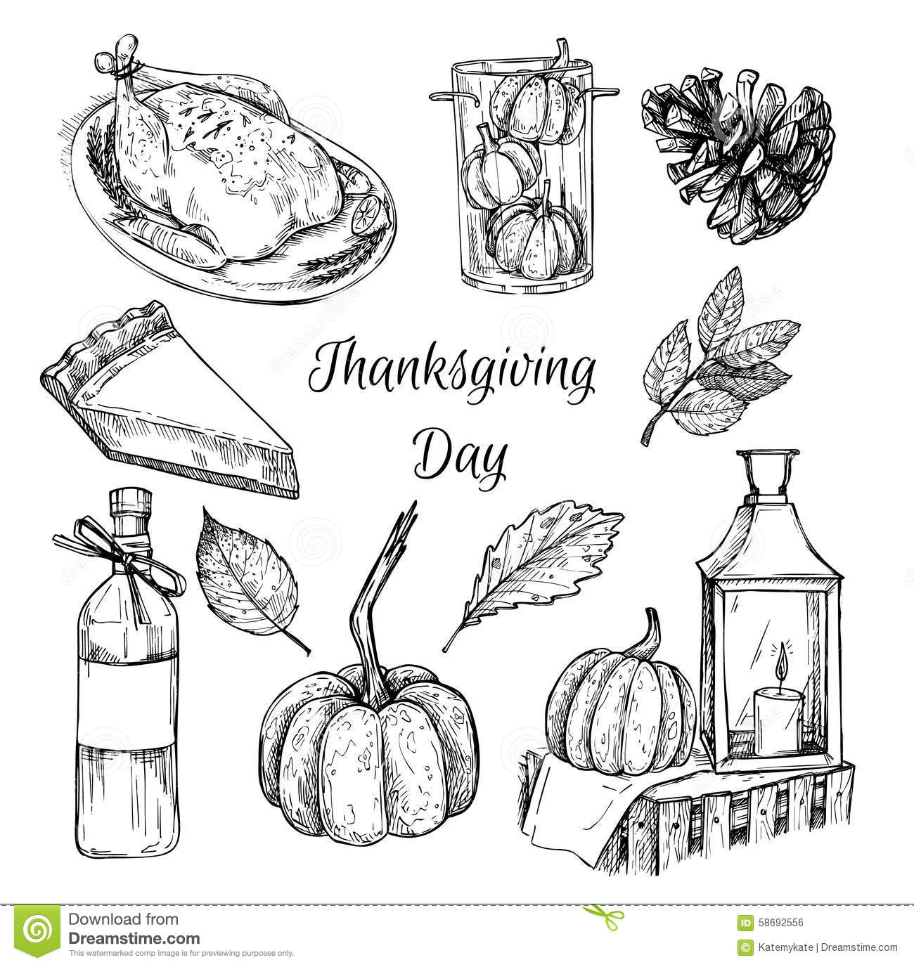 Hand Drawn Vector Illustration Thanksgiving Day Design Elements