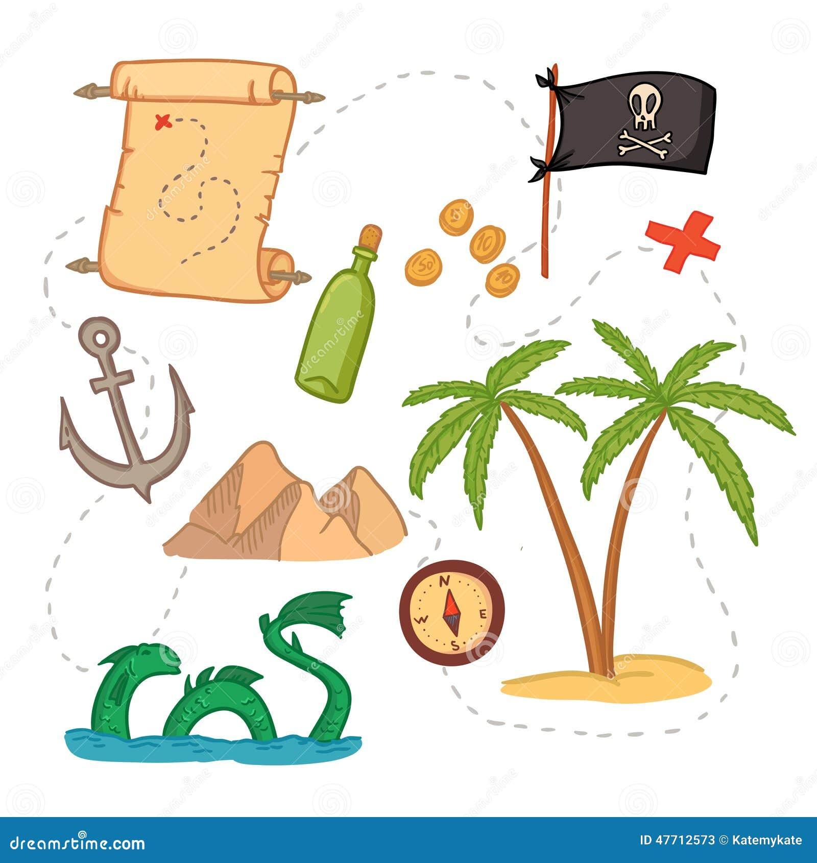 Hand Drawn Vector Illustration Treasure Map And Design Element