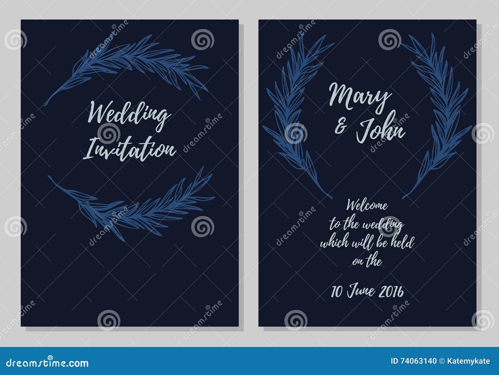 Hand Drawn Vector Illustration - Wedding Invitation Card Stock ...