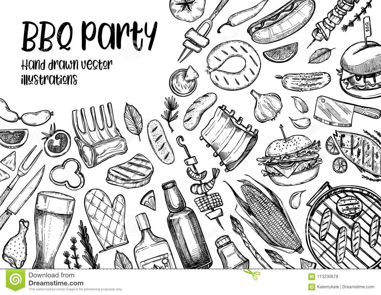 Hand drawn vector illustrations. BBQ collection. Barbeque design