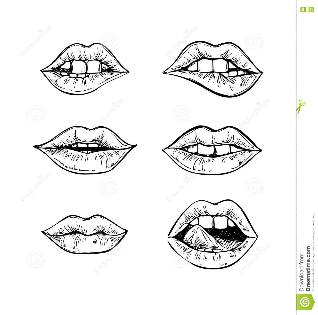 hand drawn vector illustrations sweet lips mouth teeth female set isolated white background perfect invitations 79725687 hand drawn vector illustrations sweet lips mouth with teeth