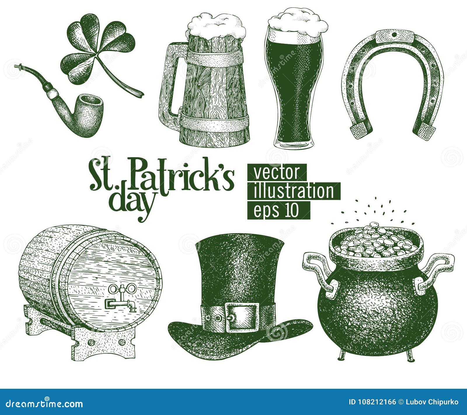 935e69f6 Hand drawn vector leprechaun hat, clover, beer mug, barrel, golden coin pot  sketch set for St. Patrick`s Day. Irish vintage illustration.