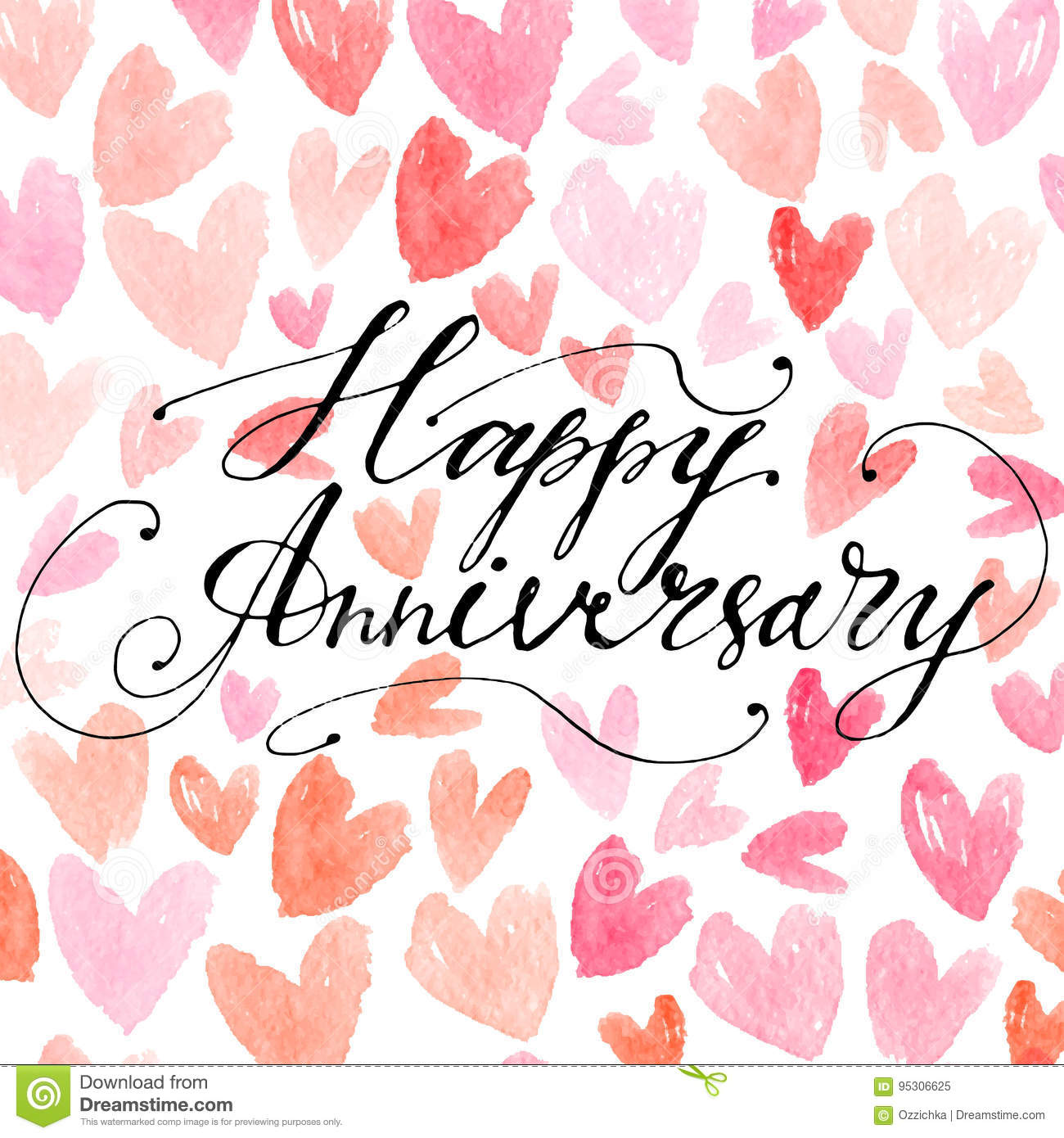 hand drawn vector lettering happy anniversary phrase by hand on bright background vector illustration