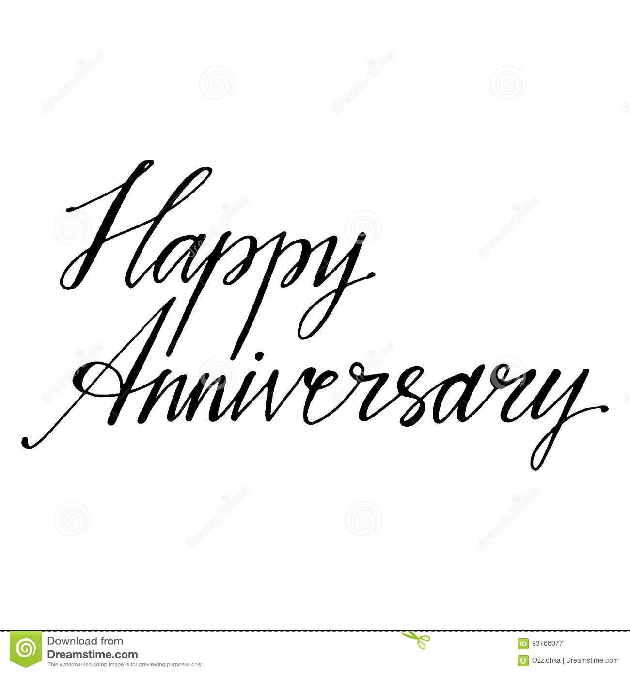 Hand drawn vector lettering happy anniversary phrase by