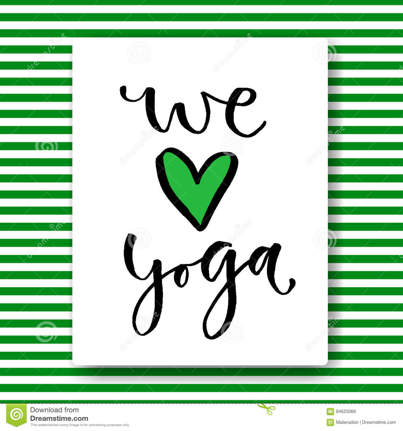 Hand Drawn Vector Lettering  We Love Yoga  Vector Card In