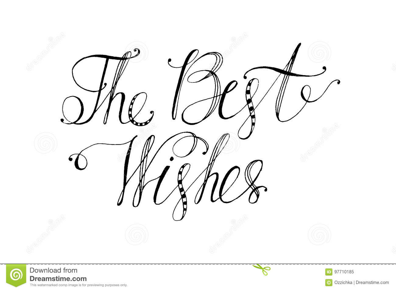 Hand Drawn Vector Lettering. Words The Best Wishes By Hand. Isolated ...