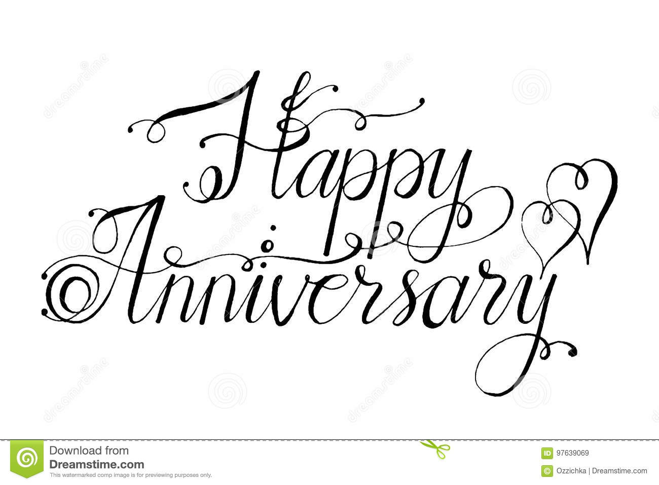 hand drawn vector lettering words happy anniversary by hand