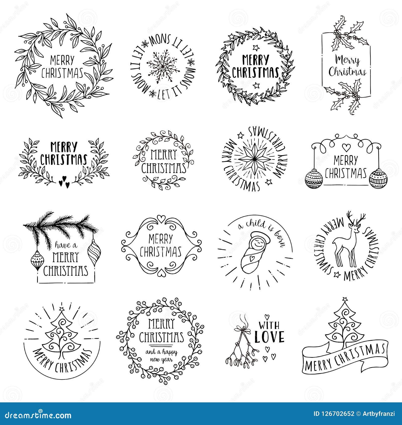 Little Christmas logos stock vector. Illustration of hand - 126702652