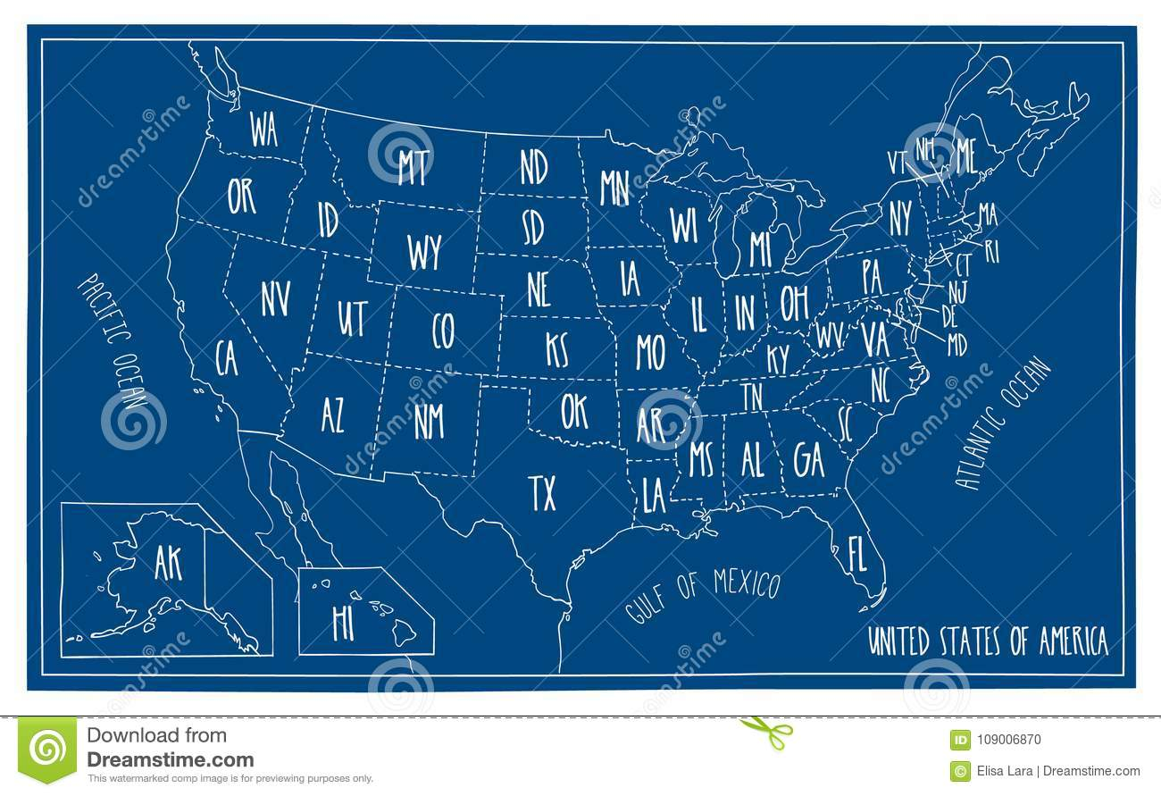 Map Of North America 50 States.Doodle Blueprint Map Of North America Stock Vector Illustration Of