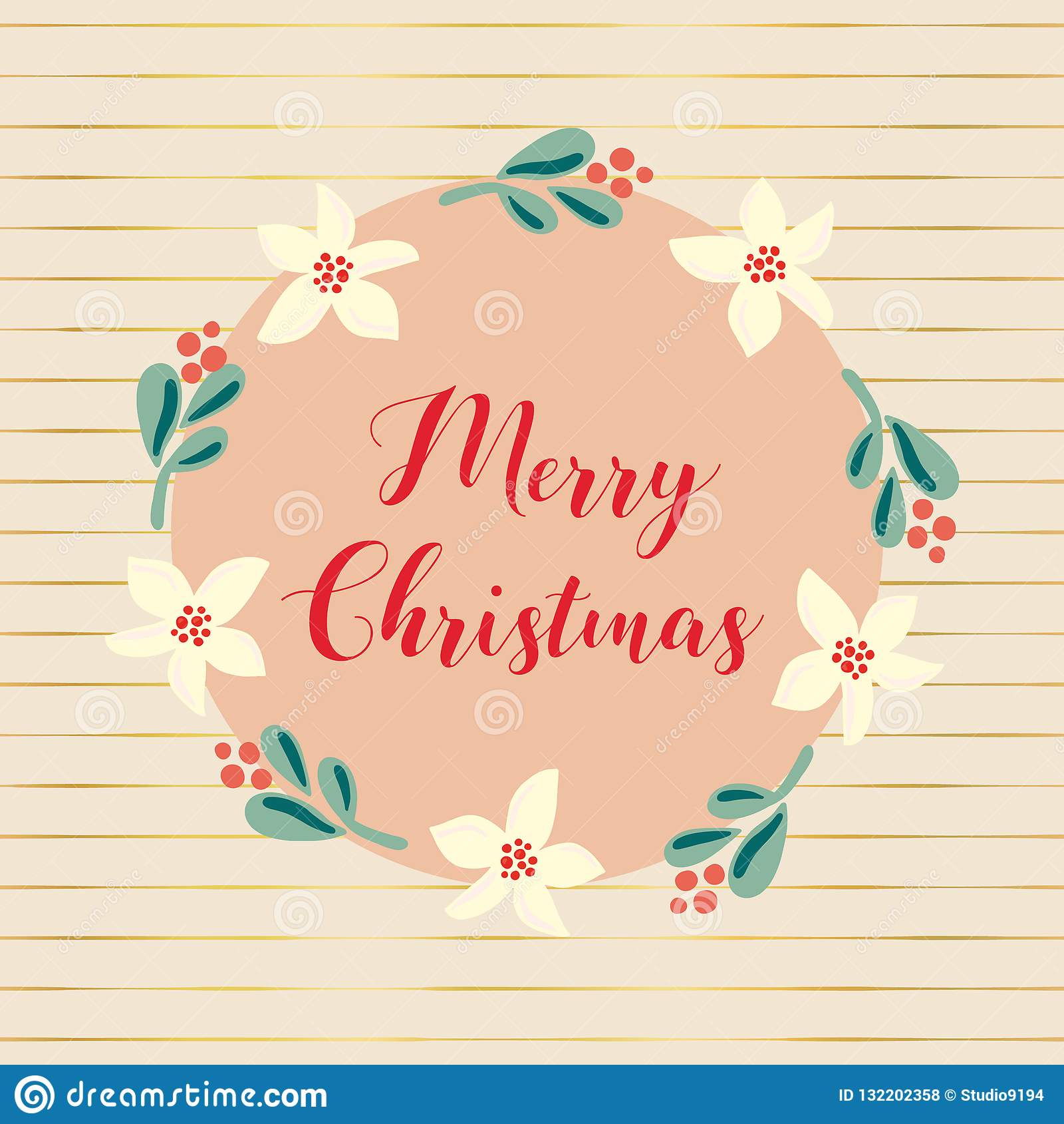 Hand drawn vector Merry Christmas holiday illustration. Mistletoe flower wreath. For poster, blog, banners, Christmas greeting