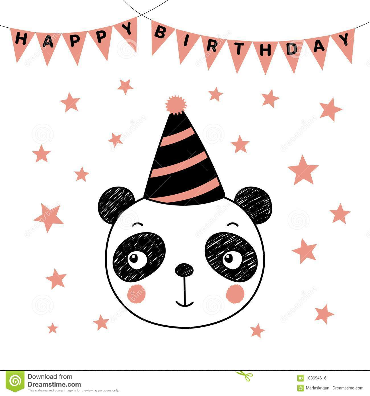 Cute panda in party hat stock vector. Illustration of face - 108694616
