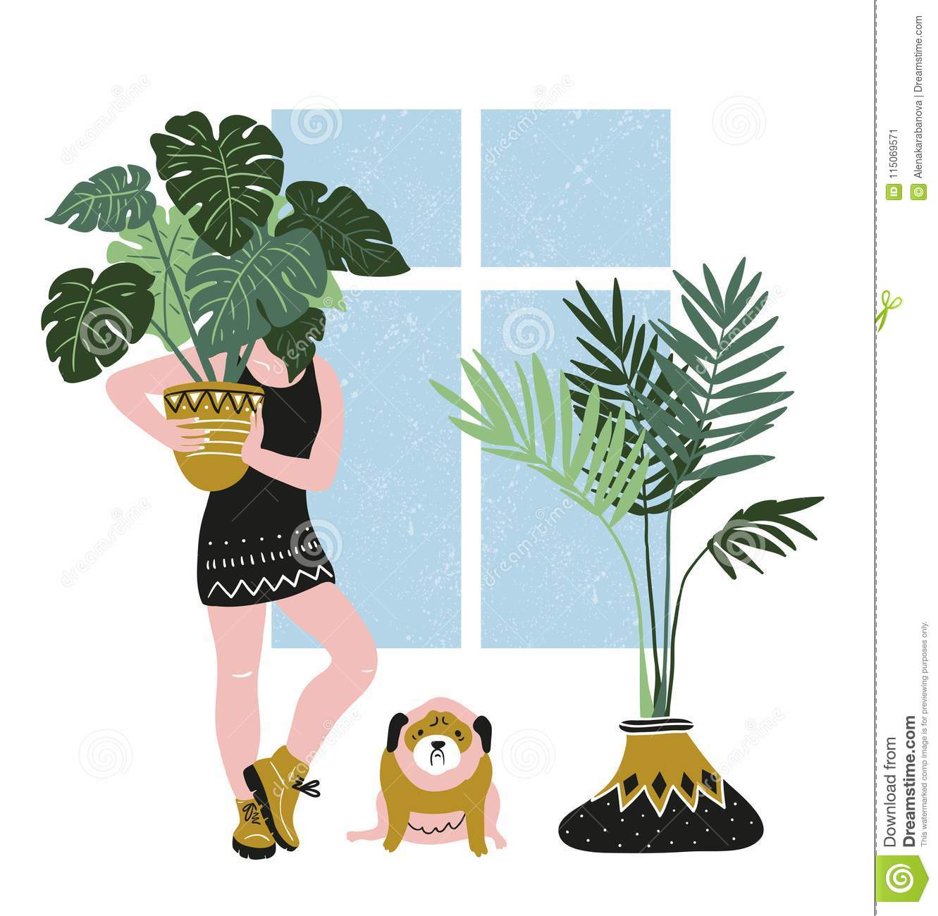 Hand drawn vector poster with tropical house plants, young woman and cute dog. Modern and elegant home decor.