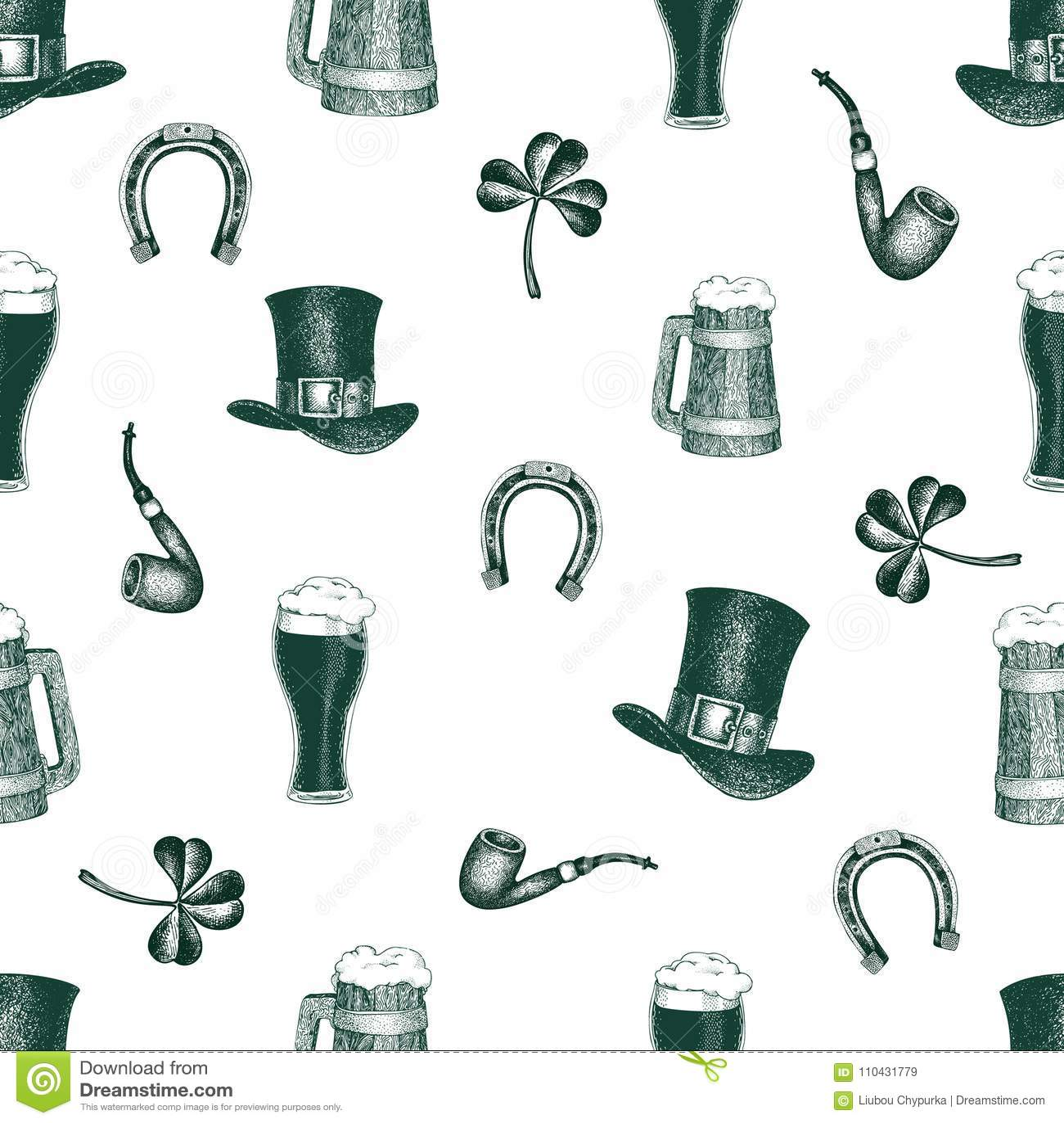 9f1f3ecd Hand drawn vector seamles pattern with leprechaun hat, clover, beer mug,  barrel, golden coin pot for St. Patrick s Day. Irish vintage illustration.