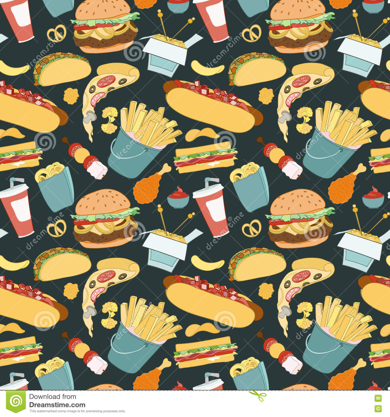 hand drawn vector seamless fast food pattern stock vectorhand drawn vector seamless fast food pattern sketch doodle food elements can be used for wallpaper, website background, wrapping paper invitation, flyer,